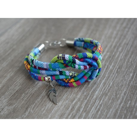 BRANSOLETKA BOHO AZTEQ KNOT WITH FEATHER